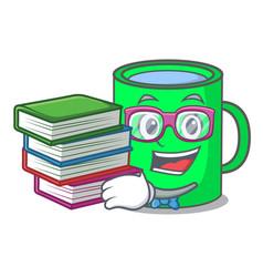 Student with book mug mascot cartoon style vector
