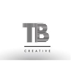Tb t b black and white lines letter logo design vector