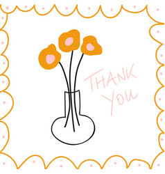 thank you message hand drawn vector image