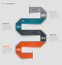 time line info graphic with folded colored design vector image