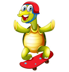Turtle skateboarding on white background vector