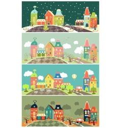 Urban landscape of four seasons vector image