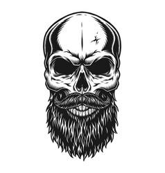 Vintage trendy bald hipster skull template vector