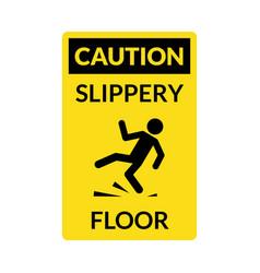 wet floor sign safety yellow slippery floor vector image