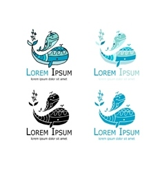 Whales logo set sketch for your design vector image