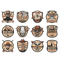 wild west vintage icons vector image