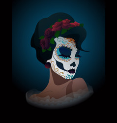 Woman with sugar skull makeup and wreath of roses vector