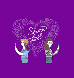 women friendship and love internet concept design vector image