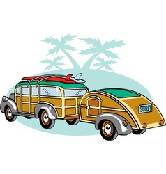 Wooden station wagon with trailer vector