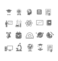 Black and white silhouette school education icons vector image