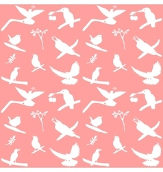 Collection of Bird Silhouettes on a pink vector image vector image