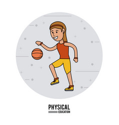 physical education - girl playing basketball sport vector image