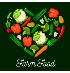 Vegetables farm food heart poster vector image vector image