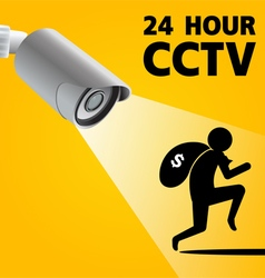 Cctv security camera capture robber man vector