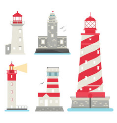lighthouses flat searchlight towers for vector image vector image