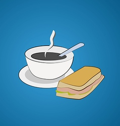Morning breakfast A cup of coffee and a sandwich vector image vector image