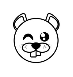 outline beaver head animal vector image vector image