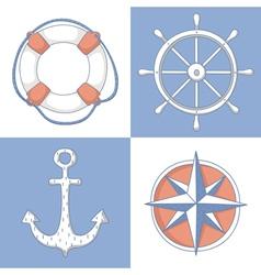 Set of nautical symbols vector image