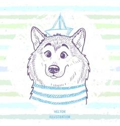 Dog marine style vector image vector image
