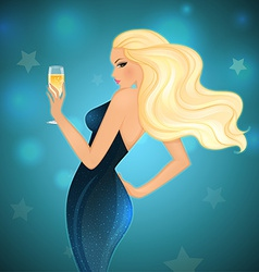 Elegance blond woman with champagne vector image vector image