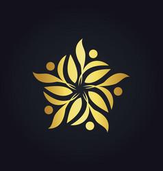 gold leaf decoration ecology logo vector image vector image