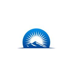 high mountain abstract sun logo vector image vector image