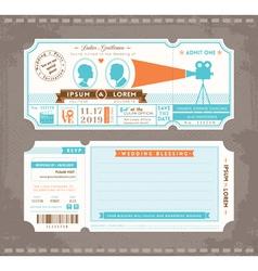 Movie ticket wedding invitation design template vector