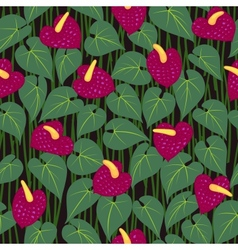seamless anturium flower pattern background vector image vector image