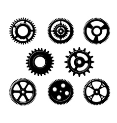 Set of metallic pinions and gears vector image vector image