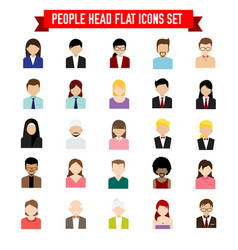collection of people head flat icon set isolated vector image vector image