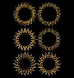 gold line designed circle frame set fine vector image vector image