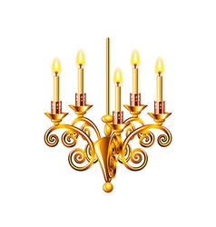 Golden chandelier isolated on white vector image