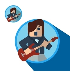 Guitarist icon flat vector image vector image