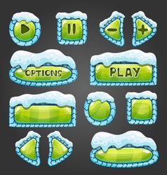 Winter cartoon light green buttons with snow vector image vector image