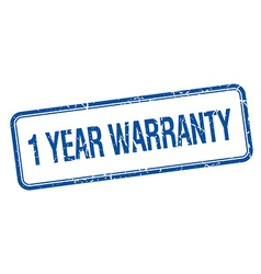 1 year warranty blue square grungy vintage vector