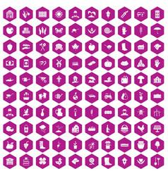 100 farm icons hexagon violet vector image