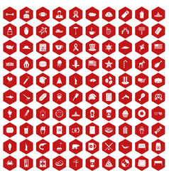 100 usa icons hexagon red vector