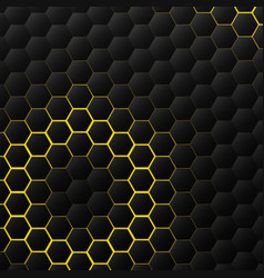 abstract hexagonal black tech on yellow vector image