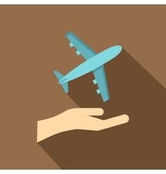 Airplane and palm icon flat style vector image