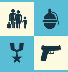 Army icons set collection of order fugitive vector
