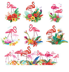 arrangement from flowers and flamingoes vector image