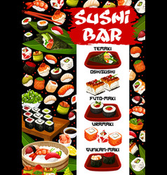 asian sushi bar menu seafood sashimi maki rolls vector image