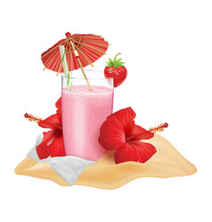 beach composition strawberry cocktail vector image