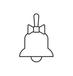 bell with bow line icon vector image