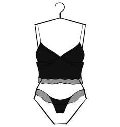 Black-gray underwear set hanging on a hanger eps10 vector