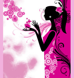 Black silhouette a young slim girl in pink vector