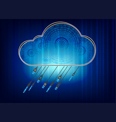 blue background with digital cloud connectors vector image