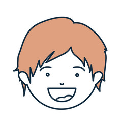 Blue color contour of smiling boy face with beige vector