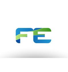Blue green fe f e alphabet letter logo vector