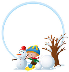border template with boy and snowman vector image